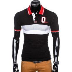 KOSZULKA MĘSKA POLO Z NADRUKIEM S903 - CZARNA. Czarne koszulki polo Ombre Clothing, m, z nadrukiem. Za 55,00 zł.