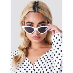 Okulary przeciwsłoneczne damskie aviatory: NA-KD Accessories Okulary przeciwsłoneczne Pointy Cat Eye – White