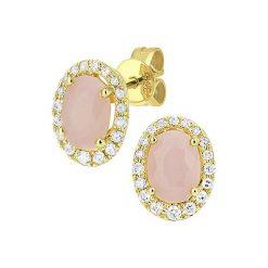Kolczyki damskie: Złote kolczyki-wkrętki z diamentami i opalami