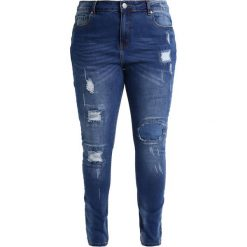 City Chic JEAN PATCHED UP Jeans Skinny Fit denim. Niebieskie jeansy damskie relaxed fit City Chic, z bawełny. Za 379,00 zł.