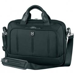 Torba w kolorze czarnym na laptopa - (S)38 x (W)29 x (G)11 cm. Czarne torby na laptopa marki Victorinox, w paski, z materiału. W wyprzedaży za 719,95 zł.