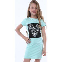 Sukienka dziewczęca z aplikacją miętowa NDZ8380. Szare sukienki dziewczęce marki Fasardi. Za 49,00 zł.