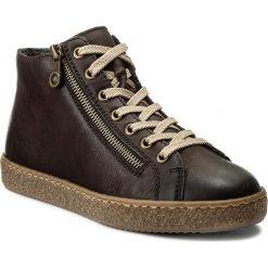 Botki RIEKER - L4831-25 Braun. Czarne buty zimowe damskie marki Rieker, z materiału. W wyprzedaży za 179,00 zł.
