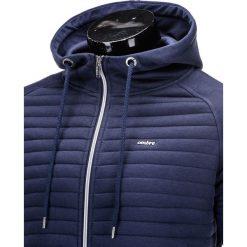 BLUZA MĘSKA ROZPINANA Z KAPTUREM B637 - GRANATOWA. Niebieskie bluzy męskie rozpinane marki Ombre Clothing, m, z bawełny, z kapturem. Za 49,00 zł.