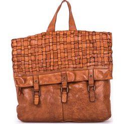 Plecaki damskie: Skórzany plecak w kolorze jasnobrązowym – 37 x 34 x 9 cm