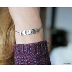 Bransoletki damskie na nogę: Fazy księżyca - srebrna bransoletka