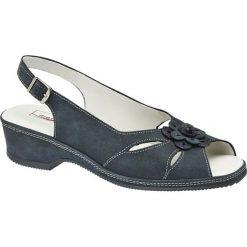 Sandały damskie Medicus granatowe. Niebieskie sandały damskie marki Medicus, z materiału, na obcasie. Za 159,90 zł.