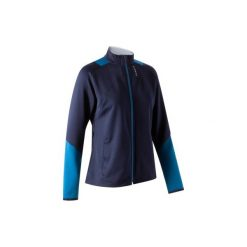 Bluza do piłki nożnej T500 damska. Czarne bluzy z kieszeniami damskie marki KIPSTA, m, z elastanu, z długim rękawem, na fitness i siłownię. Za 59,99 zł.