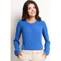 Niebieska Elegancka Bluzka z Pęknięciem przy Dekolcie. Niebieskie bluzki longsleeves Molly.pl, l, biznesowe. Za 95,90 zł.