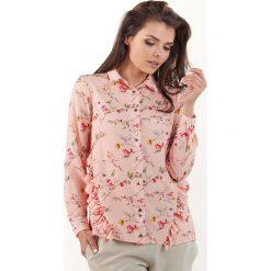 Bluzki z egzotycznym wzorem: Różowa Koszulowa Bluzka w Drobne Kwiatki z Falbankami