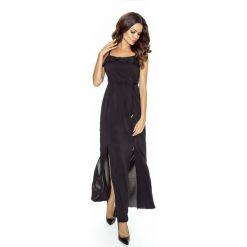 Czarna Sukienka Długa Wieczorowa na Ramiączkach. Czarne długie sukienki Molly.pl, na imprezę, l, z satyny, wizytowe, z falbankami, z długim rękawem, dopasowane. Za 219,90 zł.