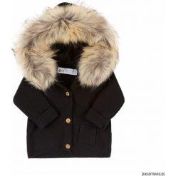 Swetry chłopięce: sweterek miś obszycie z jenota (czarny)