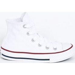 Converse - Trampki dziecięce. Białe buty sportowe dziewczęce Converse, z gumy, z okrągłym noskiem, na sznurówki. W wyprzedaży za 179,90 zł.
