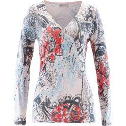 Sweter rozpinany bonprix pastelowy jasnoróżowy - dymny szary - niebieski topaz. Czerwone kardigany damskie marki bonprix, z nadrukiem. Za 44,99 zł.