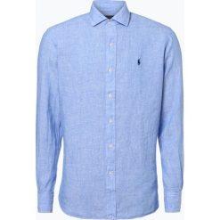 Polo Ralph Lauren - Męska koszula lniana, niebieski. Szare koszule męskie na spinki marki Polo Ralph Lauren, l, z bawełny, button down, z długim rękawem. Za 329,95 zł.