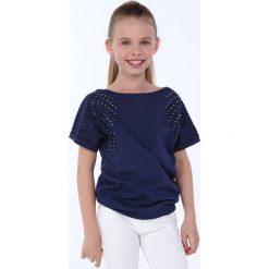 T-shirty dziewczęce: Bluzka dziewczęca z okrągłymi ćwiekami granatowa NDZ8282