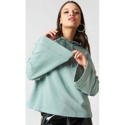 Bluzy damskie: NA-KD Basic Bluza z szerokim rękawem – Green