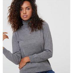 Golfy damskie: Sweter wełniany w kolorze szarym