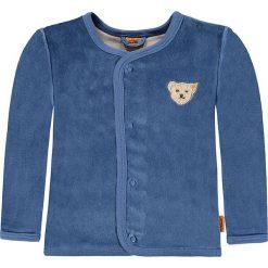 Bluza welurowa w kolorze niebieskim. Niebieskie bluzy chłopięce marki Steiff, z aplikacjami, z weluru. W wyprzedaży za 82,95 zł.