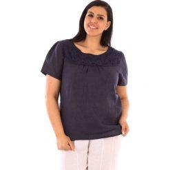 """T-shirty damskie: Lniana koszulka """"Geneve"""" w kolorze granatowym"""