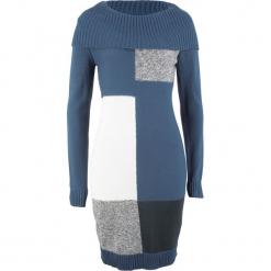 Sukienka dzianinowa z długim rękawem bonprix indygo wzorzysty. Niebieskie sukienki dzianinowe marki bonprix, z długim rękawem. Za 89,99 zł.