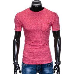 T-shirty męskie: T-SHIRT MĘSKI BEZ NADRUKU S885 – CZERWONY