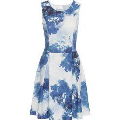 Sukienki: Sukienka z dżerseju z nadrukiem bonprix biel wełny – ciemnoniebieski wzorzysty