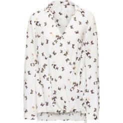 Bluzki damskie: Bluzka kopertowa bonprix biel wełny w motyle