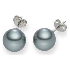 Kolczyki damskie: Kolczyki-wkrętki z perłami w kolorze szarym