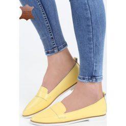 Mokasyny damskie: Żółte Skórzane Mokasyny Need You
