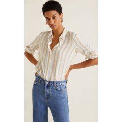 Mango - Koszula Swede2. Szare koszule damskie marki Mango, l, w paski, z tkaniny, klasyczne, z klasycznym kołnierzykiem, z długim rękawem. Za 89,90 zł.