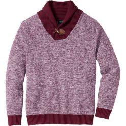 Swetry klasyczne męskie: Sweter z szalowym kołnierzem Regular Fit bonprix czerwony klonowy