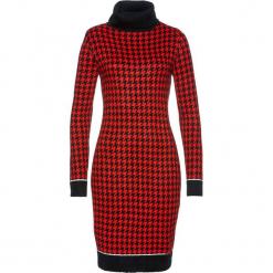 Sukienka dzianinowa bonprix czarno-czerwony sygnałowy. Czarne sukienki balowe marki Molly.pl, na jesień, uniwersalny, z wełny, z golfem, dopasowane. Za 79,99 zł.