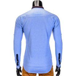 KOSZULA MĘSKA Z DŁUGIM RĘKAWEM K370 - BŁĘKITNA. Brązowe koszule męskie na spinki marki Ombre Clothing, m, z aplikacjami, z kontrastowym kołnierzykiem, z długim rękawem. Za 49,00 zł.