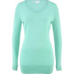 Długi sweter bonprix jasny miętowy. Zielone swetry klasyczne damskie bonprix, z dzianiny. Za 59,99 zł.