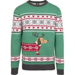 Urban Classics Sausage Dog Christmas Sweater Bluza zielony/biały/czerwony. Niebieskie bluzy męskie marki Urban Classics, l, z okrągłym kołnierzem. Za 244,90 zł.