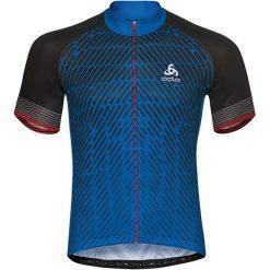Odzież rowerowa męska: Odlo Koszulka rowerowa Stand-up collar s/s full zip Fujin Print niebieska r. XL (411442)