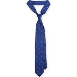 KRAWAT NIEBIESKI. Niebieskie krawaty męskie marki LANCERTO, w geometryczne wzory, z jedwabiu, eleganckie. Za 139,90 zł.