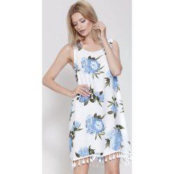 Sukienki: Biało-Niebieska Sukienka Cockatoo