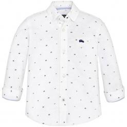 Koszula w kolorze białym. Różowe koszule chłopięce marki Mayoral, z bawełny, z okrągłym kołnierzem. W wyprzedaży za 59,95 zł.