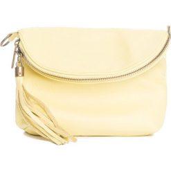 Torebki klasyczne damskie: Skórzana torebka w kolorze żółtym – 24 x 18 x 4 cm