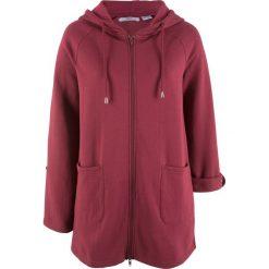 Długa bluza rozpinana, długi rękaw bonprix bordowy. Czerwone bluzy rozpinane damskie marki bonprix, z długim rękawem, długie. Za 79,99 zł.