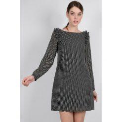 Długie sukienki: Sukienka w groszki z długim rękawem