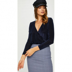 Answear - Bluzka Body. Szare bluzki asymetryczne ANSWEAR, l, z elastanu, casualowe. W wyprzedaży za 99,90 zł.