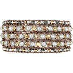 Bransoletki damskie: Skórzana bransoletka w kolorze brązowym z perłami syntetycznymi