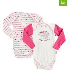 Body niemowlęce: Body (2 szt.) w kolorze białym i jasnoróżowym