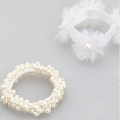 Bransoletki damskie: Ozdobne białe bransoletki 2 pack - Biały