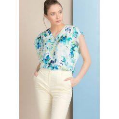Bluzki asymetryczne: Wiosenna bluzka w kolorowe kwiaty
