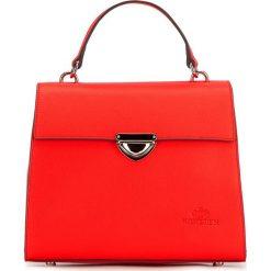 Torebka damska 87-4-571-3. Czerwone kuferki damskie Wittchen, w paski, z tworzywa sztucznego, z tłoczeniem. Za 299,00 zł.