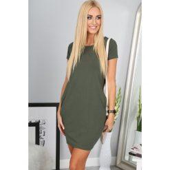 Sukienka khaki z krótkim rękawem  9967. Brązowe sukienki Fasardi, l, z krótkim rękawem, mini, oversize. Za 39,00 zł.